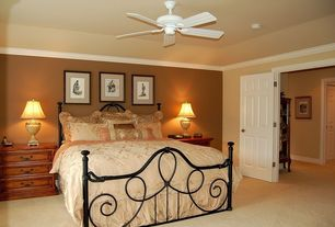 Traditional Guest Bedroom with Crown molding, High ceiling, Carpet, Ceiling fan