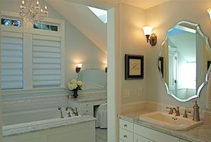Traditional Full Bathroom with Howard Elliott Oblong Scalloped Frameless Mirror, J. Hunt Home Frameless Wall Mirror, Skylight
