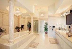 "Traditional Master Bathroom with Vinyl floors, High ceiling, Jacuzzi white 72"" x 4"" bella vista drop in soaking tub, Columns"