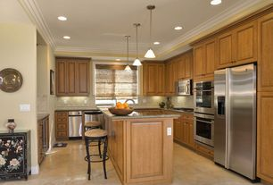 Traditional Kitchen with Westinghouse Lighting Winchester Mini Light Pendant, Breakfast bar, Pendant light, Crown molding