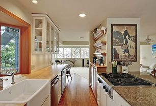 "Traditional Kitchen with Signature hardware 30"" reinhard fireclay farmhouse sink, Simple granite counters, Galley, Flush"
