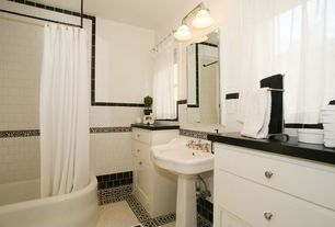 Traditional Full Bathroom with Soapstone counters, penny tile floors, tiled wall showerbath, Pedestal sink