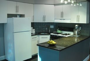 Contemporary Kitchen with High ceiling, Flush, Simple granite counters, Slate Tile, U-shaped, Undermount sink, Stone Tile