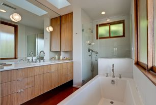 Contemporary Full Bathroom with Skylight, European Cabinets, wall-mounted above mirror bathroom light, Shower, Bathtub, Flush