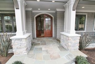 Traditional Front Door with exterior stone floors, Glass panel door