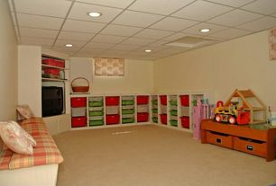 Traditional Playroom with Carpet, Paintable white beadboard, Deauville 45.5 x 12.75 Caldwell Bench Cushion