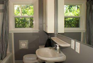 Traditional Full Bathroom with tiled wall showerbath, slate tile floors, European Cabinets, Pedestal sink, Flush