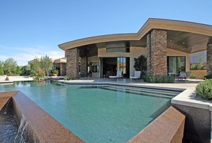 Modern Swimming Pool with picture window, exterior tile floors, Other Pool Type, exterior concrete tile floors