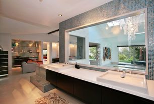 Contemporary Full Bathroom with Corian solid surface in designer white, Master bathroom, Skylight, Flush, European Cabinets