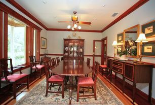 Craftsman Dining Room with flush light, Laminate floors, Chair rail, Ceiling fan, French doors