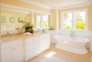 Cottage Full Bathroom with Ms international sunny light limestone slab, Limestone counters, Flat panel cabinets, Double sink