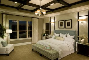 Craftsman Master Bedroom with Master bathroom, Box ceiling, Wall sconce, Pendant light, Carpet, Crown molding