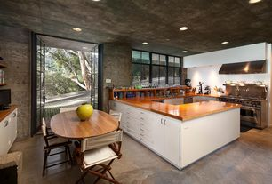 Modern Kitchen with U-shaped, two dishwashers, European Cabinets, Inset cabinets, Breakfast nook, Wood counters, French doors