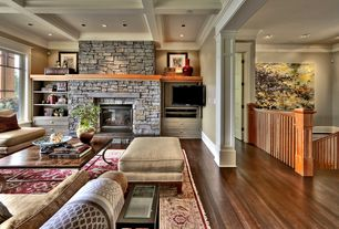 Craftsman Great Room with Exposed beam, Standard height, Built-in bookshelf, Fireplace, stone fireplace, Crown molding, Paint