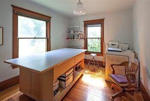 Craftsman Home Office with flush light, Hardwood floors