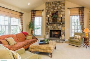 Country Living Room with Eldorado Stone Rough Cut, Pottery barn carson linen/cotton cordless roman shade, stone fireplace
