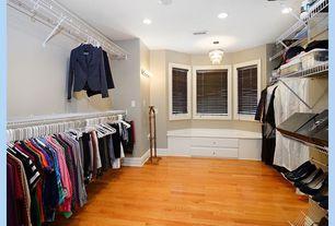 Traditional Closet with Bay window seating and storage, Hardwood floors, Oak flooring, Bay window, flush light, Wall sconce