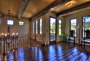 Mediterranean Hallway with French doors, flush light, Hardwood floors, Standard height, Exposed beam, picture window