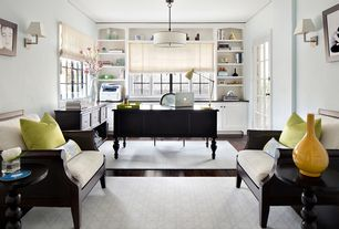 Contemporary Home Office with Glass panel door, Built-in bookshelf, Pendant light, Hardwood floors, Crown molding