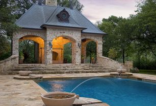 Mediterranean Swimming Pool with exterior stone floors, Other Pool Type, Pathway, Fence, Gazebo