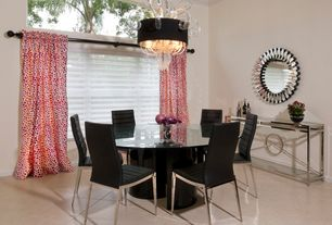 Modern Dining Room with Crown molding, Arched window, Concrete tile , Chandelier