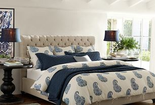 Traditional Master Bedroom with Pottery Barn Rayna Paisley Duvet Cover & Sham - Blue, Hardwood floors, Exposed beam