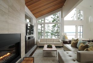 Contemporary Living Room with stone fireplace, Window seat, West Elm Box Frame Coffee Table Cafe, High ceiling, flush light