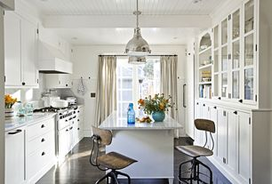 Traditional Kitchen with Inset cabinets, Glass panel, Breakfast bar, Walker Zanger Potomac White Marble, Laminate floors