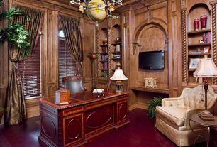 Traditional Home Office with Exposed beam, Crown molding, specialty window, terracotta tile floors, Chandelier, High ceiling