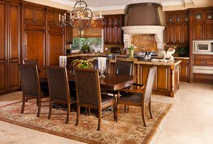 Mediterranean Kitchen with Breakfast nook, Kitchen island, electric cooktop, Complex Granite, L-shaped, Raised panel