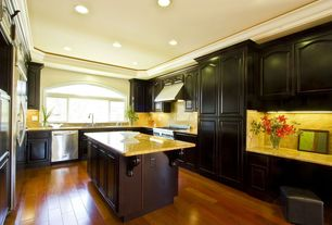 Traditional Kitchen with Undermount sink, Wall Hood, Integrity Cabinets Newcastle Arch Ebony Chocolate Cherry, Paint 1