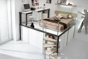 Contemporary Kids Bedroom with Paint, Built-in bookshelf, Concrete floors, Standard height, Loft, Bunk beds, picture window