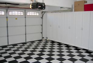 Contemporary Garage with Standard height, Concrete tile , Exposed beam, Paint, Garage storage cabinets, specialty door