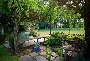 Traditional Landscape/Yard with Gazebo, Nikko Blue Hydrangea, Fence, Lowes Natural Patio Stone, exterior stone floors