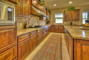 Traditional Kitchen with limestone tile floors, L-shaped, Stone Tile, Limestone Tile, Kitchen island, Undermount sink