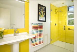 Contemporary 3/4 Bathroom with frameless showerdoor, flat door, Rain shower, three quarter bath, Standard height, Shower