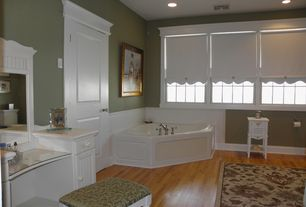 "Cottage Master Bathroom with Hardwood floors, Jacuzzi? Capella? 60"" x 60"" Skirted Bathtub, specialty door, Master bathroom"