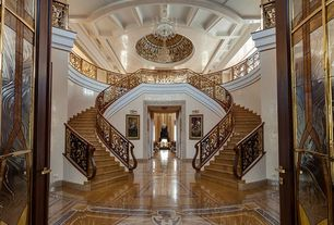 Art Deco Entryway with complex marble tile floors, Crown molding, High ceiling, Chandelier, Exposed beam, French doors
