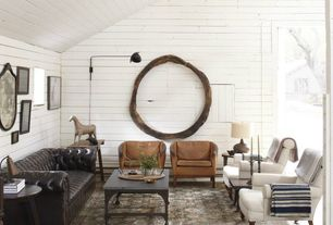 Contemporary Living Room with Painted wood walls, Wood walls, Danish leather chairs by vodder, Wall sconce, High ceiling