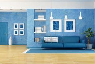 Contemporary Living Room with Laminate floors, Monochromatic, interior wallpaper, Area rug, Pendant light, Built-in bookshelf