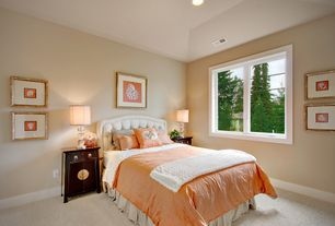 Traditional Guest Bedroom with Carpet, Built-in bookshelf