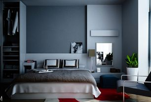 Contemporary Master Bedroom with Standard height, picture window, Concrete floors, Built-in bookshelf