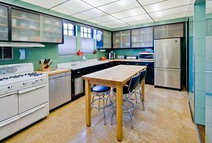 Eclectic Kitchen with full backsplash, Kitchen island, Glass panel, dishwasher, Undermount sink, Flush, electric range