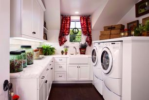 Cottage Laundry Room with Hardwood floors, laundry sink, Standard height, can lights, Built-in bookshelf, Casement