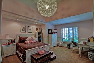 Eclectic Kids Bedroom with Chandelier, Carpet, TRIBECCA HOME Macedonia White 5-drawer Chest, High ceiling, Wainscotting