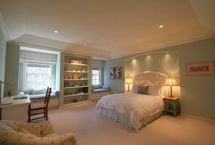 Traditional Kids Bedroom with Stiffel Roman Bronze Table Lamp, Flush, Carpet, Crown molding, Raised panel, Window seat