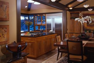 Contemporary Kitchen with Exposed beam, 2 in. Solid Surface Countertop in Deep Nocturne, limestone tile floors, High ceiling