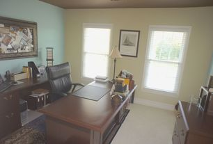 Traditional Home Office with Carpet, Standard height, double-hung window
