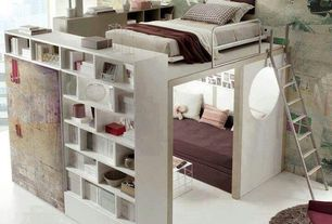 Eclectic Kids Bedroom with Loft bed, Built-in bookshelf, South Shore Axess 5 Shelf Wall Bookcase in Pure White, Carpet