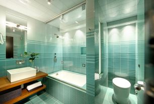 Contemporary Full Bathroom with Vessel sink, Wood counters, flush light, tiled wall showerbath